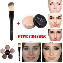 Best Face Oils Australia - Factory Best Face Concealer Cream 1pc Makeup Base Foundation Nude Face Liquid Cover Freckle Pores Oil Control Natural Making Up Powder Brush
