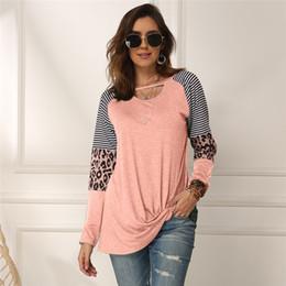 Wholesale long tunic top for sale – plus size 5Colors Women s Long Sleeve Leopard T Shirt Casual Stripe Tunic Top Color Block Blouse