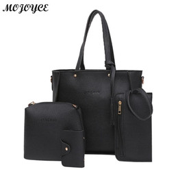 54cf463a6e9b 4pcs set Litchi Leather Shoulder Bag Tassel Women Solid Color Crossbody Tote  Messenger Handbags Clutch Card Holder Bags Bolsas