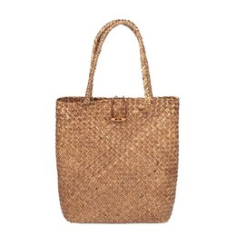 Wholesale Hand Woven Large Rattan Straw Bag Flower Basket Storage Tote Female Bags Travel Handbag Shopping Braided Hand Bag For Women