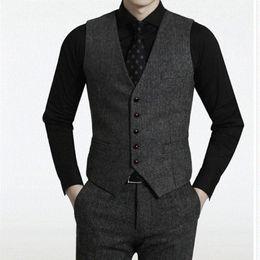 Wholesale american coat size online – oversize 2019 New Dark Grey Groom Vests Wedding Vests Wool Slim Fit Mens Vests Tailored Dress Coat Farm Country Plus Size Herringbone Tweed