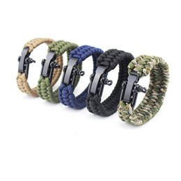 surf jewelry 2019 - ROMAD Camping Men Stainless Steel Parachute Cord Weaving Surf Nautical Sailor Men Wristband Fashion Jewelry R4 discount