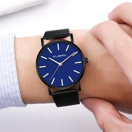 Discount geneva mesh watch - GUENA Simple Style Men Watch Luxury Mesh Band Quartz Watch Stainless Steel Case Geneva Fashion Sport Clock relogio mascu