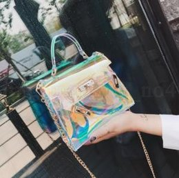 9e262a7bd7a69 Laser Messenger Bags 15 19 8cm Candy Color Jelly Transparent Handbag  Holographic Hasp Lock Chains Outdoor Handbags OOA6092