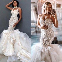 $enCountryForm.capitalKeyWord Australia - 2019 Plus Size Mermaid Wedding Dresses Sexy Spaghetti Lace Applique Tiered Skirts robe de mariée Gorgeous Beach Wedding Dress