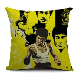 $enCountryForm.capitalKeyWord UK - Bruce Lee Portrait Cushion Cover Chinese Kung Fu Star Linen Pillow Cover 45X45cm For Bedroom Sofa Chair Seat Decoration
