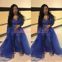 7a75c7e52bfb Plus size sequin jumPsuits online shopping - Trendy Jumpsuit Prom Dresses  Pants Overskirt Long Sleeve Royal