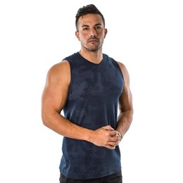 mens cotton tank tops wholesale Australia - 2019 New fashion cotton sleeveless shirts tank top men Fitness shirt mens singlet Bodybuilding workout gyms vest fitness men