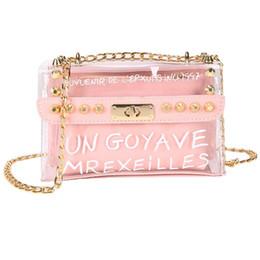$enCountryForm.capitalKeyWord Australia - 2019 New Fashion Mini Transparent Square Bag Womens Satchel Bag Fashion Flap Cover Rivet Chain Shoulder With Inner