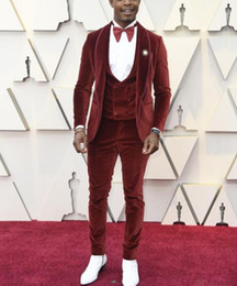 $enCountryForm.capitalKeyWord Australia - Velvet Men Suits for Groom Jacket Red Carpet Wedding Tuxedo Costume Latest Coat Pant Designs (Jacket+Vest+Pants+Bowtie) TD1985