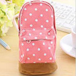 Key Ring Canvas NZ - Hot Sale Polka Dot Print Canvas Kids Women Coin Purse Phone Bag Student Pencil Case Pen Pouch Small Bag Shape Key Ring