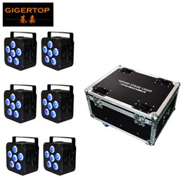 Discount rgbaw wireless dmx battery - 6IN1 Charging Flightcase Pack 6*18W 6IN1 RGBAW UV Freedoom Hex Battery Powered Wireless Profile LED Display Long Battery