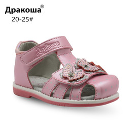 $enCountryForm.capitalKeyWord NZ - Apakowa Brand Classic Girls Orthopedic Sandals Pu Leather Toddler Kids Shoes For Girls Closed Toe Baby Flat Shoes Eur 20-25 New Y19051403