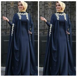 $enCountryForm.capitalKeyWord Australia - Dubai Arabic 2020 Formal Lace Evening Dresses With Long Sleeves Navy Blue Chiffon Plus Size Prom Party Gowns Gold Lace Appliques