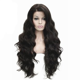 $enCountryForm.capitalKeyWord NZ - Women's Front Lace Wigs Very Long Wavy Black Brown 30 inches Kanekalon Synthetic Wig 5 Color