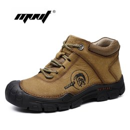 Plus size waterProof snow boots online shopping - Natural Leather Lace Up Men Boots Super Warm Fur Snow Boots Handmade Waterproof Ankle Boots Plus Size Men Winter Shoes