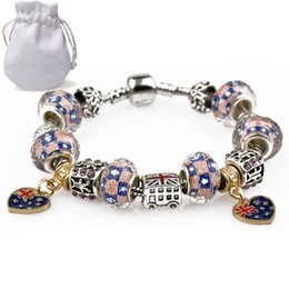 Discount uk jewelry - With Logo Luxury Charm Bracelets Women Silver Plated Fit Pandora Bangles UK US Flag Crystal Beads Heart Gold Pendant All