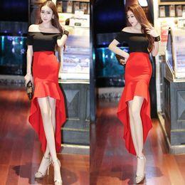 $enCountryForm.capitalKeyWord NZ - Summer Wear new Slash Neck off-shoulder slim hip swallow tail stitching sexy irregular dress Short sleeved long skirt A0094