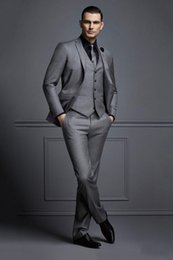 best party dress image man 2019 - Hot -- Grey Groom Tuxedos Notch Lapel Two Button Men Wedding Dress Best Popular Men Business Prom Party Suit(Jacket+Pant