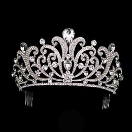 Hair For Brides Australia - Vintage Silver Crystal Tiara Wedding Big Crown For Bride Hair Accessories 2017 New Alloy Rhinestones Queen Crown Hair Jewelry Y19051302