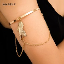 upper arm cuffs NZ - IngeSight.Z Charm Gold Color Multi Layered Leaves Tassel Bracelets Bangles Punk Simple Upper Arm Cuff Bracelet for Women Jewelry