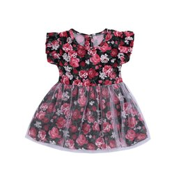 Baby Girls Dress Toddler Summer SleeveLess Flowers Print KIds For Children Clothes Princess Party Birthday