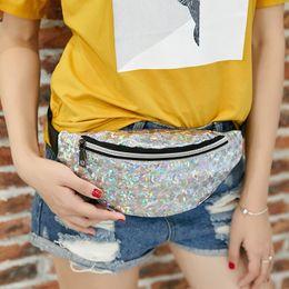 $enCountryForm.capitalKeyWord Australia - Waist Bags Women Pink Silver Fanny Pack female banana Belt Bag Holographic Geometric Women's Waist Packs Laser Chest Phone Pouch