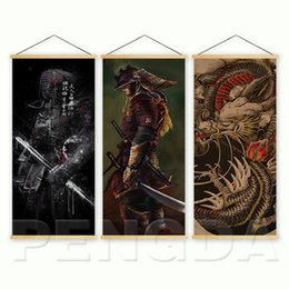 Discount japanese art posters Home Decor Nordic Style Canvas Picture Printed Japanese Samurai Dragon Scroll Hanging Painting For Living Room Wall Art