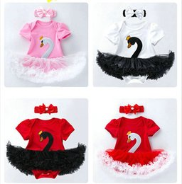 SwanS embroidery online shopping - Retail girls boutique outfits summer romper sets baby short sleeve swan romper dress headband baby tracksuit suit kids designer clothes