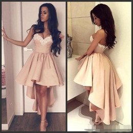 $enCountryForm.capitalKeyWord Australia - 2019 Simple Blush Pink Prom Dresses Short Mini High Low White Lace Applique Sweetheart Neckline Pleats Cocktail Evening Party Gown