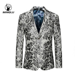 Branded white Blazers for men online shopping - Minglu Brand Slim Fit Men s White Floral Blazer Party Stage Clothing For Singers Two Button Casual Blazers For Men XL XL
