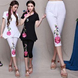 $enCountryForm.capitalKeyWord Australia - Ethnic Trousers Summer Fashion Ladies Flower Embroidery Elastic Pencil Pant Leggings Women Pants Plus Size M L XL 2XL 3XL 4XL