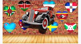 $enCountryForm.capitalKeyWord Australia - Customized 3D large silk photo mural wallpaper Vintage car vintage brick wall love flag 3D restaurant bar background wall paper for walls 3d
