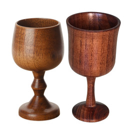 Glass china Glasses online shopping - Wood environmental protection classical round wine cup high quality single layer solid wood cup high foot red wine cup T3I5295