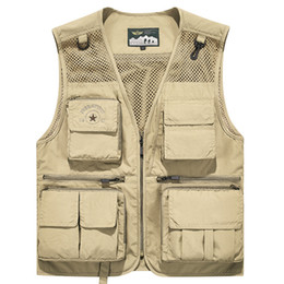 green army tactical vest men NZ - Summer Vest Men Collarless Mesh Breathable Sleeveless Jacket Multi-pockets Tactical Vest Outdoor Fishing Photography Waistcoat