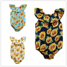 Prussian Clothing Australia - 3 Color Sunflowers Newborn Kid Baby Girls Clothes Sunflower Romper Peter Pan Collar Jumpsuit Outfit Set