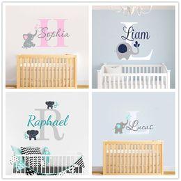 Names Stickers Australia - Joyreside Custom Personalized Name Color Baby Elephant Wall Decal Vinyl Sticker For Kid Boy Girls Room Nursery Decoration Xy001 Q190522