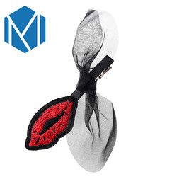 $enCountryForm.capitalKeyWord Australia - Fashion Girls Ribbon Bow Hairpins Hair Clips For Women Sexy Red Lip Lace Bow Knot Barrettes Hair Accessories Gifts