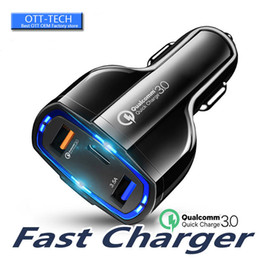 best chinese gps Canada - Best Dual Ports Car Charger Type C And USB Charger QC3.0 Qualcomm Quick Charge Adapter For Mobile Phone GPS Power Bank Tablet
