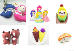 Toys for mermaid online shopping - Squishy Toys Princess Bride Salmon Mermaid Cartoon corn Small brown bear Ice cream squeezing cute cellphones with gifts for children