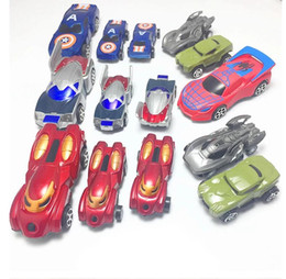 Wholesale Pull Back Toys Australia - Avengers pull back cars set boxed simulation cartoon small car Simulation car model toy children's toys wholesale