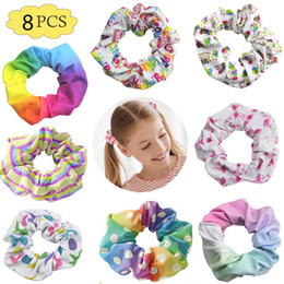 feather packing Australia - free shipping 8pcs pack birthday fun scrunchies inspired girl pony made of hair pattern for hair scrunchies