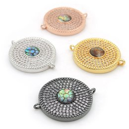 $enCountryForm.capitalKeyWord UK - 23*19*3mm Micro Pave Clear CZ Gridding Abalone Shell Round Connectors Fit For Making Bracelets Jewelry
