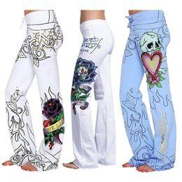 c102b28725d Fashion Boho Yoga Pants Skull Rose High Waist Printed Flower Baggy Long  Trouser Hippie Wide Leg Sexy Sport Pants Women Plus Size  329800