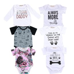 $enCountryForm.capitalKeyWord Australia - 2018 Baby Boy Girl Clothes Party Siblings Daddy Auntie Letter Baby Bodysuit Short Sleeve Jumpsuit Baby Onesie 0-18 Tiny