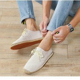 ethnics shoes Australia - Summer Black White Bule Male Casual Canvas Hemp Insole Fisherman Light Shoes Ethnic Style Men Espadrille Flats Shoes Ii-08z MX190713