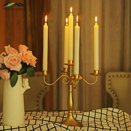 $enCountryForm.capitalKeyWord Australia - Metal Candle Holders Candlestick 1 3 5-arms Candle Holder Stand White gold Pillar For Wedding Home Decoration Candelabra Gzt013 Y19061901