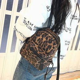 $enCountryForm.capitalKeyWord NZ - Fashion Leopard Print Small Backpacks Women Pu Leather Backpack Kids Fashion Back Pack Travel Chain Plush Bags Winter Bag Sac