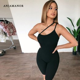 black one shoulder jumpsuits women UK - ANJAMANOR Woman One Piece Jumpsuit Black Ribbed Knitted One Shoulder Backless Bodycon Rompers Sexy Women Clothing D68-BH22 T200704