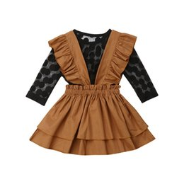 Wholesale Toddler Kids Baby Girls Long Sleeve Black Dots Lace Tops Ruffle Bib Dress Skirt Outfits Clothes Set